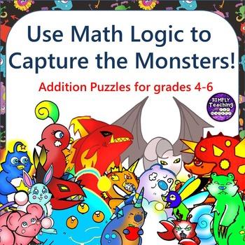 Addition Scavenger Hunt Logic Puzzle Game Grades 4-6