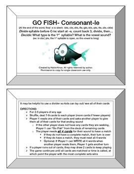 Go Fish: Consonant-le Card Game- Orton Gillingham Phonics/Reading/Spelling