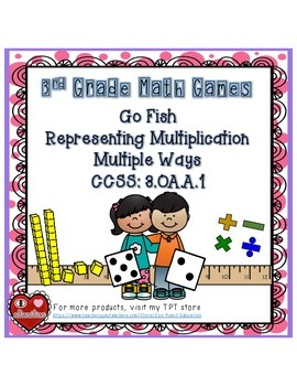 GO FISH: Representing Multiplication Multiple Ways (3 VERSIONS included)