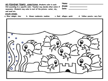 GO FISHING- For TEMPO!!! Worksheet on Slow-Very Fast and Great For Subs!!!