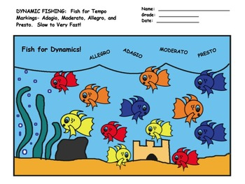 GO FISHING- For TEMPO!!! Worksheet on Slow-Very Fast and G