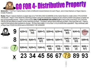 GO FOR 4- A FUN & EXCITING DISTRIBUTIVE PROPERTY GAME