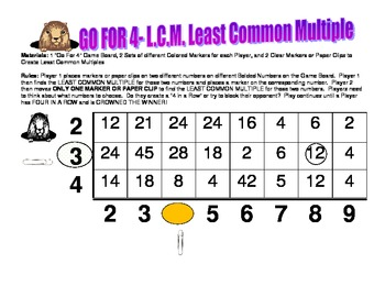 GO FOR 4- A L.C.M. Least Common Multiple Game