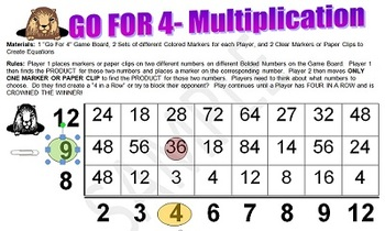 GO FOR 4- An Exciting Multiplication Strategy Game