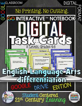 ELA DIFFERENTIATION DIGITAL TASK CARDS GOOGLE DRIVE PAPERLESS CLASSROOM
