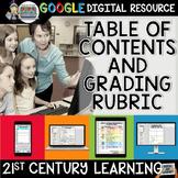 Digital Notebook Google Classroom Table of Contents Grading Rubrics