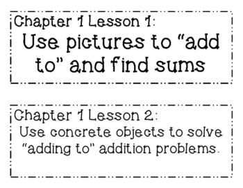 GO MATH! 1st Grade Objectives BUNDLE Chapters 1-12