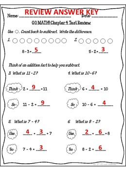 GO MATH! 1st grade Chapter 4 Review & Assessment (answer key included)