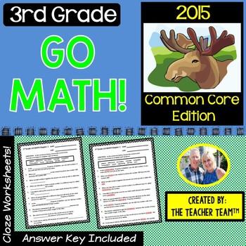 GO MATH! 3rd Grade CLOZE Worksheet Vocabulary Chapters 1-12 BUNDLE 2015 Edition