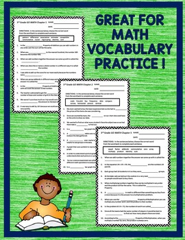 GO MATH! 3rd Grade CLOZE Worksheet Vocabulary Chapters 1-12 2015 Version
