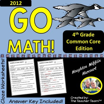GO MATH! 4th Grade CLOZE Worksheet Vocabulary Activities Chapters 1-13 BUNDLE