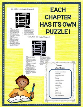 GO MATH! 4th Grade Math Vocabulary Crossword Puzzles Chapters 1-13 2015