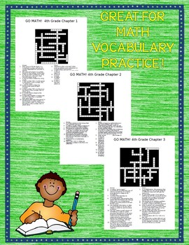 GO MATH! 4th Grade Math Vocabulary Crossword Puzzles Chapters 1-13 BUNDLE