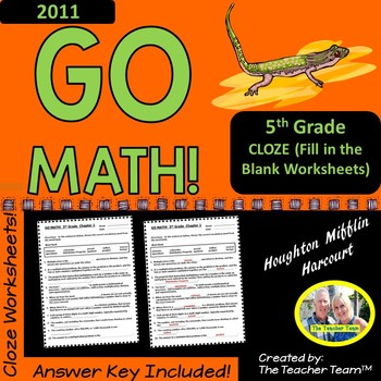 GO MATH! 5th Grade CLOZE Worksheet Vocabulary Activities Chapters 1-11 BUNDLE