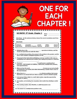 GO MATH! 5th Grade Common Core CLOZE Worksheet Vocabulary Chapters 1-11 BUNDLE