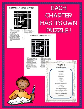 GO MATH! 5th Grade Math Vocabulary Crossword Puzzles Chapters 1-11 BUNDLE 2015