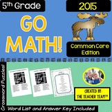 GO MATH! 5th Grade Math Vocabulary Crossword Puzzles Chapters 1-11 2015