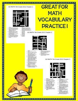 GO MATH! 5th Grade Common Core Vocab Crossword Puzzles Chapters 1-11 BUNDLE 2012