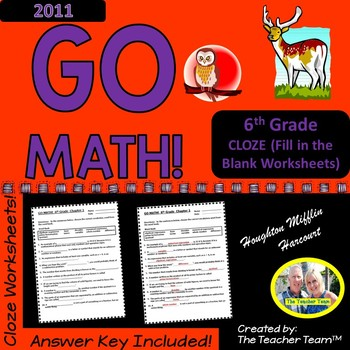 GO MATH! 6th Grade CLOZE Worksheet Vocabulary Activities for Chapters 1-13