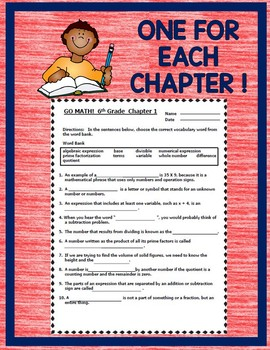 image about Go Math 6th Grade Printable Worksheets identified as Shift MATH 6th Quality Vocabulary Worksheets Finish Calendar year