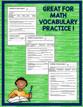 GO MATH! 6th Grade Common Core CLOZE Worksheet Activities Chapters 1-13 BUNDLE