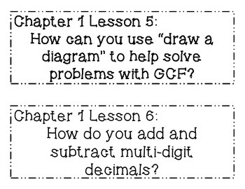 GO MATH! 6th Grade Chapter 1 Essential Question Posters