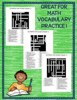 GO MATH! 6th Grade Math Vocabulary Crossword Puzzles Chapters 1-13 BUNDLE 2015