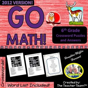 GO MATH! 6th Grade 2012 version Common Core Crossword Puzzles Year