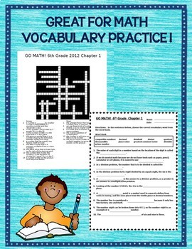 GO MATH! 6th Grade Common Core Vocabulary Activities Ch 1-13 Full Year BUNDLE