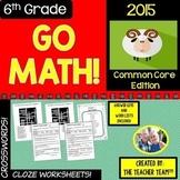 GO MATH 6th Grade Vocabulary Activities Year BUNDLE