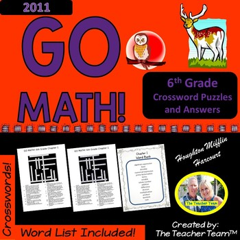 GO MATH! 6th Grade Vocabulary Crossword Puzzles Chapters 1-13 Full Year Bundle