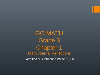 GO MATH CHAPTER 1 Essential Questions/Journal Reflections