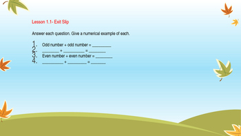 GO MATH Ch1 GRADE 2 Assessments Problem of the day and Exit Slip