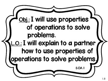 GO MATH! Content and Language Objectives CHAPTER 1 {5th Grade}