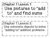 GO MATH! Grade 1 Chapter 1 Objectives