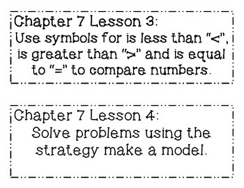 GO MATH! Grade 1 Chapter 7 Objectives