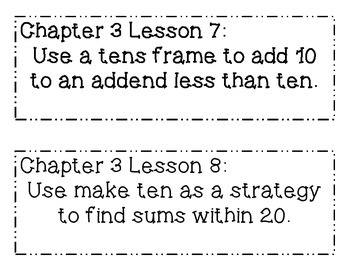 GO MATH! Grade 1 Chapter 3 Objectives