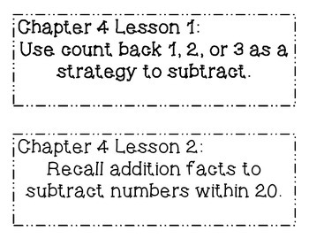 GO MATH! Grade 1 Chapter 4 Objectives