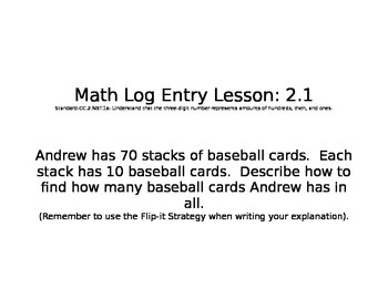 GO MATH Math Log Entries Chapter 2 Grade 2