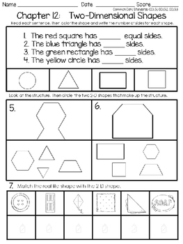 GO MATH'S CHAPTER TWELVE:  TWO-DIMENSIONAL SHAPES