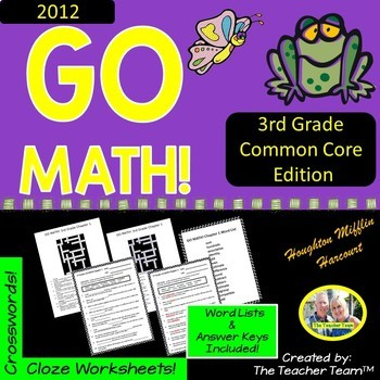 GO MATH! 3rd Grade Vocabulary Activities Chapters 1-12 Full Year Bundle