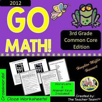 GO MATH! 3rd Grade  Vocabulary Activities Full Year Bundle