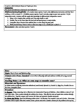 GO MATH Unit 3 Written Lesson Plans