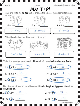 GO MATH'S CHAPTER THREE ADDITION ASSESSMENT FOR FIRST GRADE