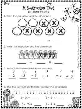 GO MATH'S CHAPTER TWO SUBTRACTION ASSESSMENT FOR FIRST GRADE