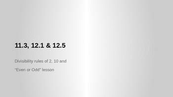 GO Math 11.3, 12.1 and 12.5 Division Lessons
