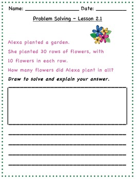GO Math - 2nd Grade, Chapter 2 - Problem Solving / Journal Writing & Exit Slips