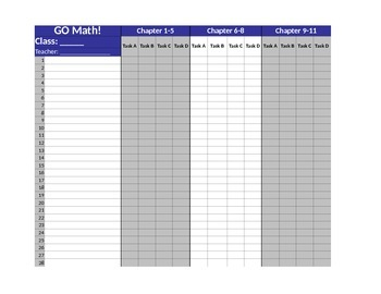 2015 GO Math! Grade 5 Student Assessment DATA Tracking Checklist. Chapters 1-11