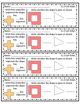 GO Math! Chapter 12 Exit Tickets 3rd Grade