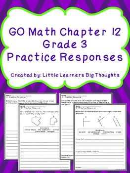 GO Math Chapter 12 Practice Responses Grade 3